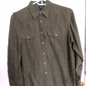 Lauren Olive Green Linen Shirt